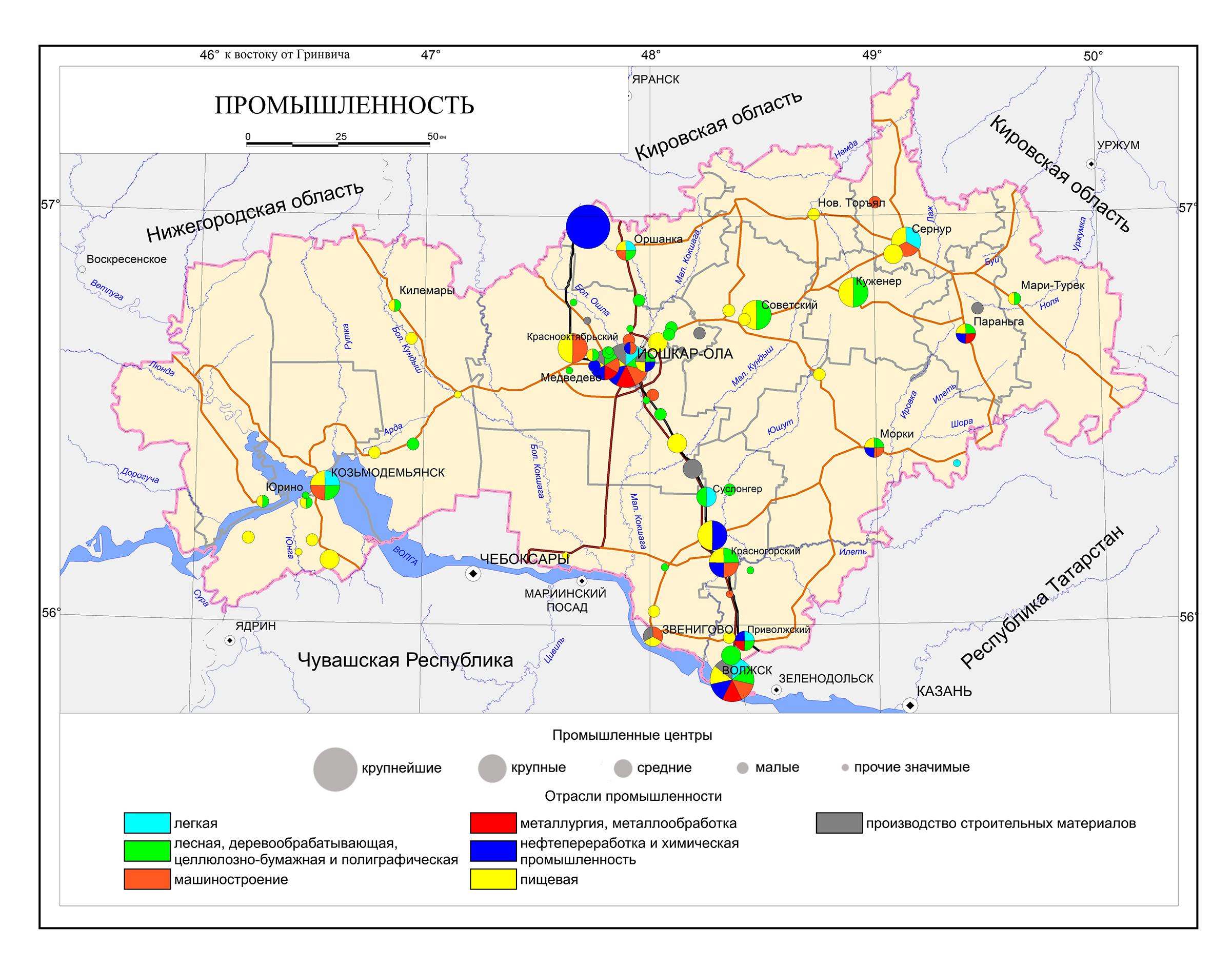 Карта промышленности Марий Эл